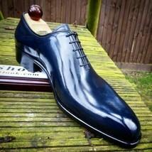 Handmade Men's Leather Oxford Shiny Blue Plain Rounded Burnished Toe Shoes - $149.99