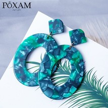 Geometric Acrylic Fashion Statement Drop Earrings For Women Vintage Resin Oval R - $7.26