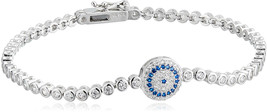 Decadence Women's Sterling Silver Rhodium 3mm Evil Eye Bezel Set Tennis ... - $195.29