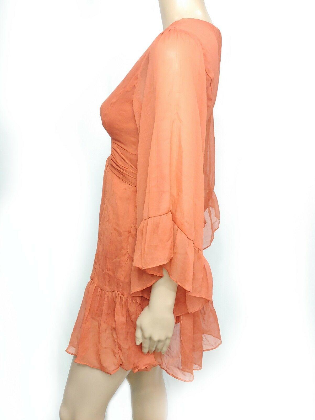 Modcloth Myth Burnt Orange V-neck Ruffle Bell Sleeve Kimono Mini Shirt Dress S
