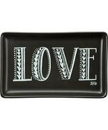 Trinket Jewelry Tray Organizer Holder Stoneware Ceramic LOVE Black White  - $9.70