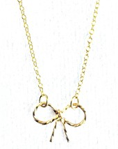 "USA Made By Philippe 14KT Gold Filled Sterling Silver 925 16"" Mini Bow Necklace"