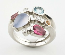 Cartier Meli Melo Platinum and Diamond & Gemstone Ring Size Size 6.75 1990s - $7,722.00