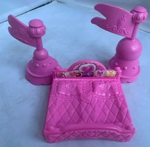 Fisher Price Little People Disney Cinderella Castle Turrets Flag Lot 2 Pink &Bed - $19.75