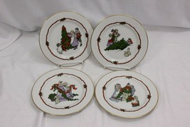 "Fitz Floyd Deck the Halls Salad Dessert Plates 7.5"" 1982 Set of 4 - $32.83"