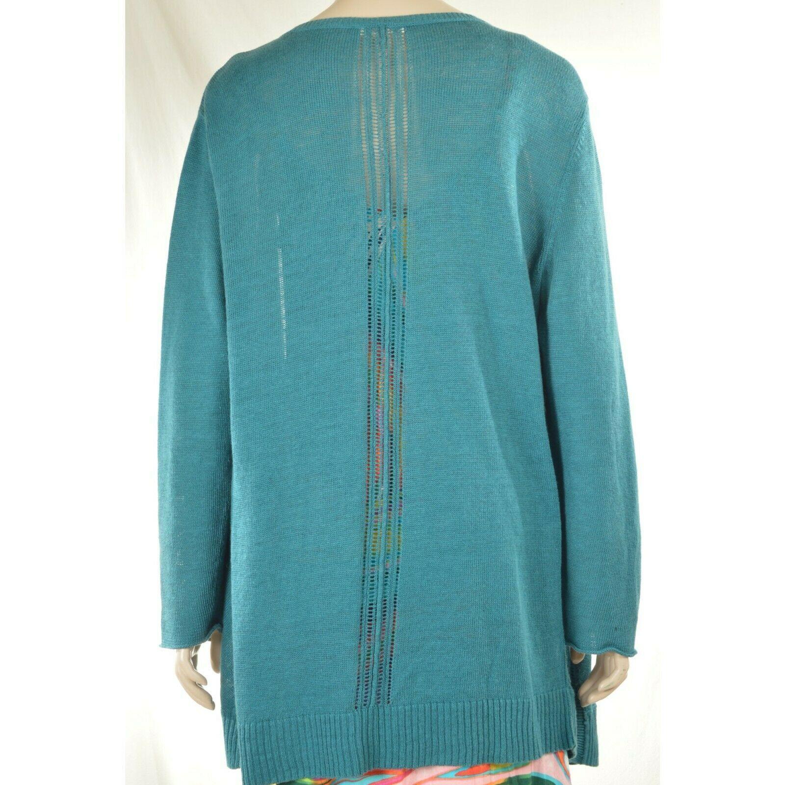 Eileen Fisher sweater cardigan SZ L teal 100% linen knit pockets soft long s image 3