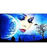 spirit woman from heaven fantasy art print original surreal abstract moo... - $7.99