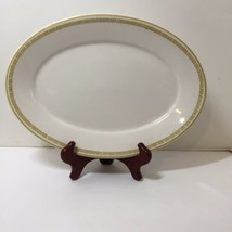 "Oval Serving Platter Homer Laughlin Yellow Trim Band 12.5"" - $19.34"