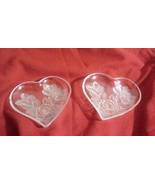 Heart Shaped Dishes with Frosted Rose Design - $3.00