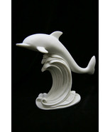 Dolphin Riding on Waves Italian Statue Sculpture FIgurine Vittoria Made in Italy - $49.95