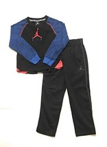Jordan Jumpman Little Boys Raglan Tee Shirt and Pants Set Black/Blue Size 6 - $38.60