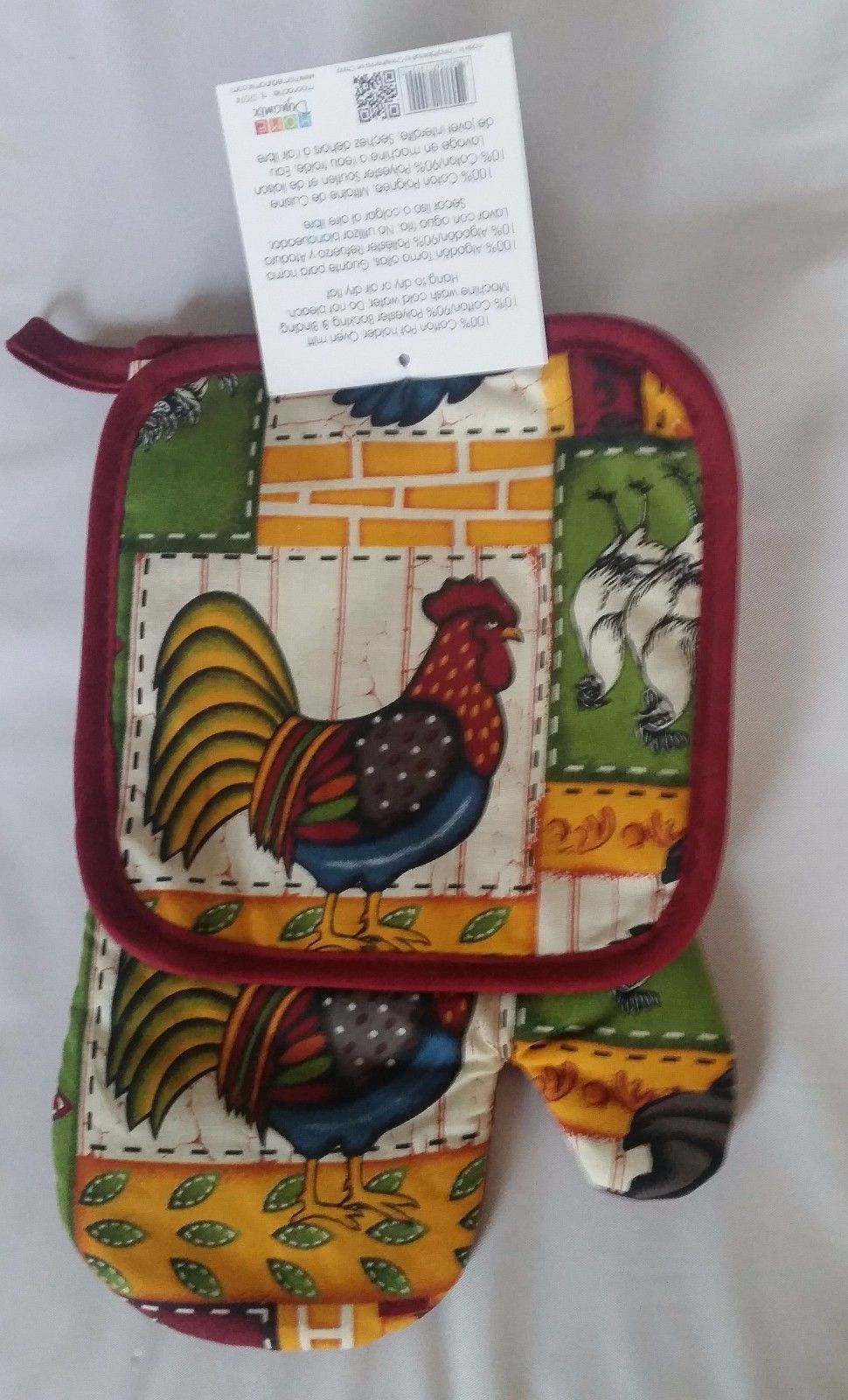2 pc Set PRINTED Kitchen Pot Holder & Oven Mitt by ROOSTER by HD