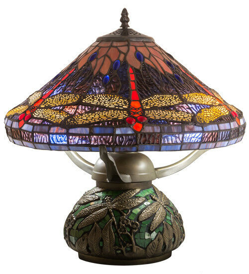 "Meyda Tiffany Beautifully Detailed Dragonfly Cone Table Lamp 16""H"