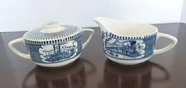 Currier & Ives Royal China Sugar & Creamer Set Train with Paddle Boat Blue - $17.59