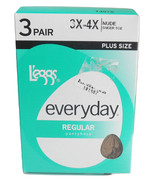 L'eggs Everyday Regular 3X 4X Plus Size Womens Pantyhose Nude with Sheer... - $6.95