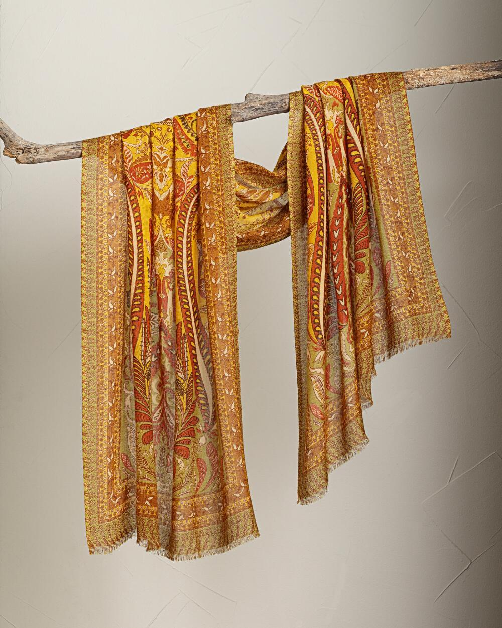 Smithsonian Golden Paisley Shawl 100% Merino Wool  - $99.99