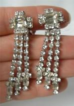 Vintage Vitoge Rhinestone earrings Art Deco Emerald Clear Long dangle Fr... - $24.70