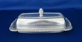 Covered Stick Butter Dish, Polished Aluminum, Silver Plate, Glass Insert - $14.00