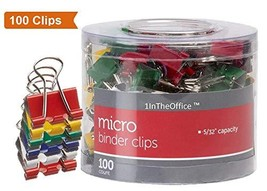 1InTheOffice Multicolored Binder Clips, Micro, 100 ct. - £8.60 GBP