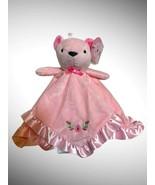 Stepping Stones Pink Bear Roses Flowers Security Blanket Satin Trim Love... - $29.69