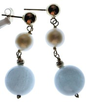 14k Yellow Gold 6mm White Freshwater Cultured Pearl 10mm Aquamarin Drop Earrings image 2