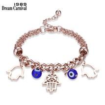 DreamCarnival 1989 Fatima Hands Stainless Steel Bracelet Femme Rose Gold... - $9.78
