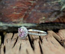Solid 10k White Gold Halo Design Purple,White Diamond Round Cut Anniversary Ring - $279.99