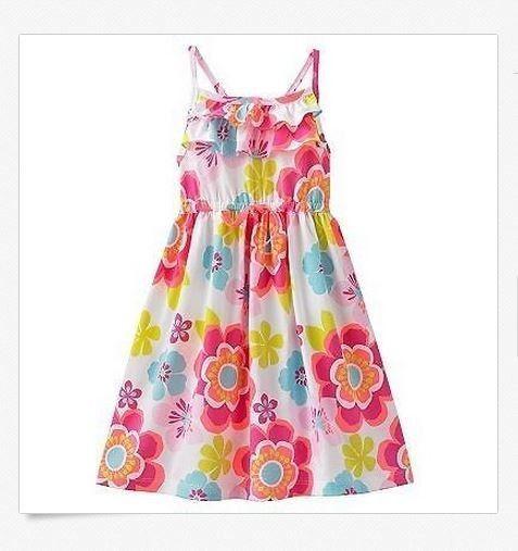 NWT Carter's Girls 2T 3T White Pink Aqua Floral Knit Summer Sundress Dress - $9.99