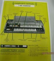 keyboard controls  j 400 hammond manual organ hammond organ manual - $8.15