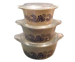 Pyrex Homestead Blue Round Casseroles 6pc Dish Set w/Lids 473-475 - $89.09