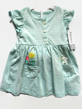 Carters Green and White Striped Dress 2 pc Includes Diaper Cover Panties New - $13.54