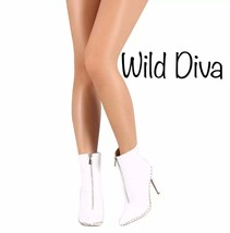 Wild Diva WHITE STUDD BOOT Zipper Booties Boots Heeled Boots New NIB - $49.00