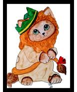 Oz Cowardly Cat Watercolor Artwork - $25.00