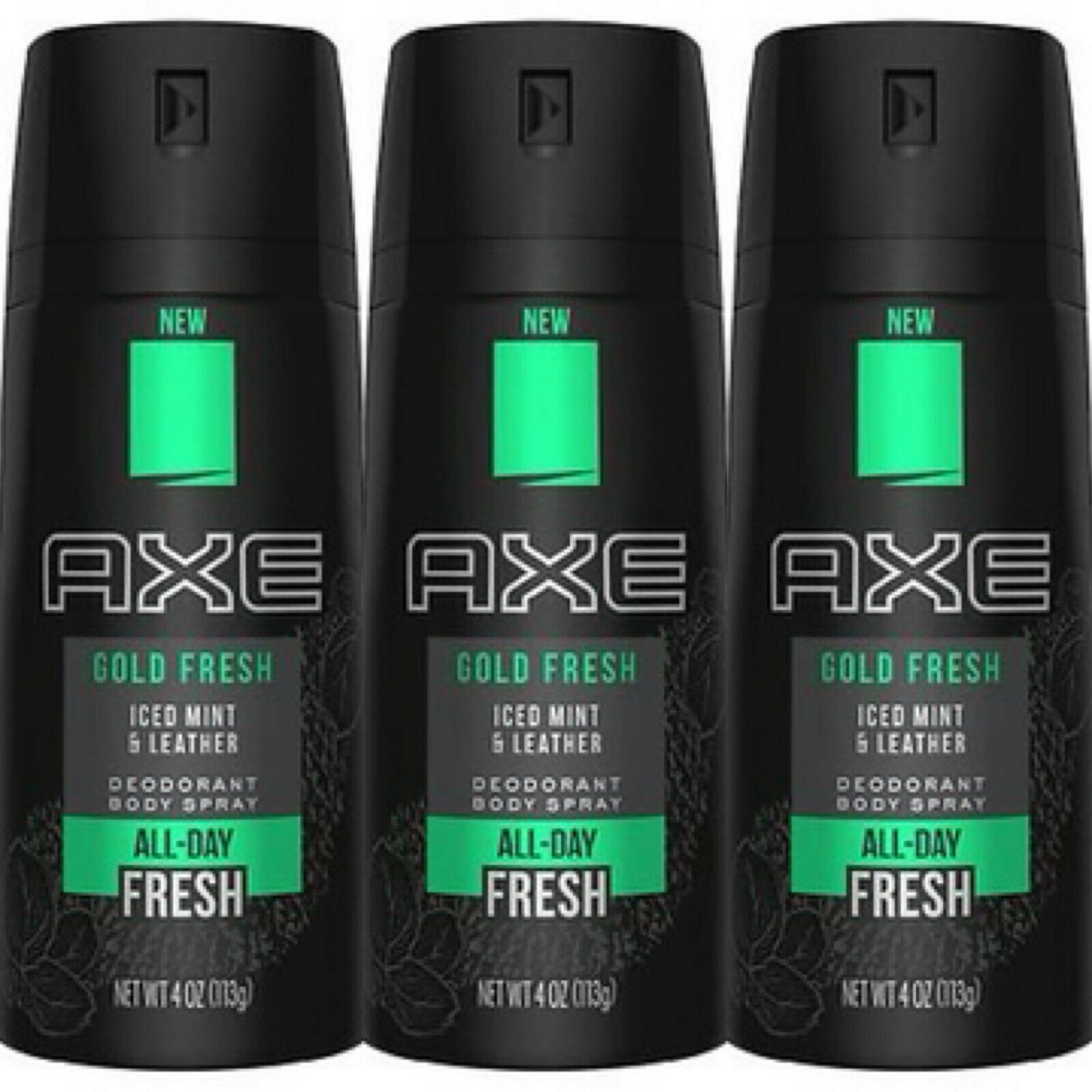 Primary image for Axe Gold Fresh Iced Mint & Leather Deodorant Body Spray All Day Fresh 4 Oz x3