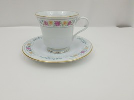Liling Fine China Cup & Saucer Set Yung Shen Keepsake White Roses Flowers - $13.54