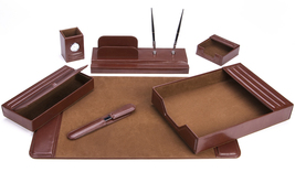 Majestic Goods 7 Piece Brown Leather Desk Set  - €113,32 EUR