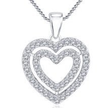 14k White Gold FN 925 Silver Double Heart Shape Pendant With Chain Round Cut CZ - $53.88