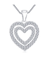 14k White Gold FN 925 Silver Double Heart Shape Pendant With Chain Round... - $53.88
