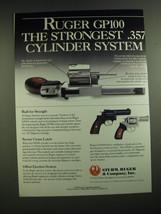 1989 Ruger GP100 Revolver Ad - Ruger GP100 the strongest .357 cylinder system - $14.99