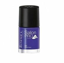 Rimmel London Salon Pro w/ Avec Nail Polish .4 Fl Oz Barmy Blue 447 - $3.26