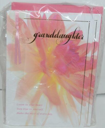 Hallmark FBD 375 5 Happy Birthday Granddaughter Ribbon Card Pink Envelope Pkg 4