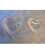 Set of 2 Imperial Glass Co Crystal Candlewick Heart Bon-Bon Trinket Dishes - $10.44