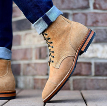 Handmade Bespoke Men Tan Ankle Lace up Suede Boots - $159.97+