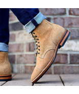 Handmade Bespoke Men Tan Ankle Lace up Suede Boots - $209.98 CAD+