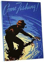 "Pingo World 0617QTFY45M ""Come Fishing Vintage"" Advertising Poster Gallery Wrappe - $138.55"