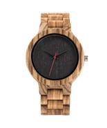 Wooden Watch Handmade Full Wooden Quartz Watches Bracelet Clasp Watch-Black - $47.99
