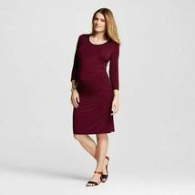 Maternity Striped 3/4 Sleeve Tee Dress Berry Maroon Sizes M L NWT - $20.99