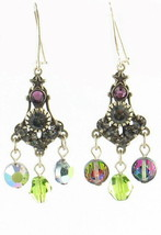 Vintage  Rhinestones  & Heliotrope AB Swarovski I Purple Bead Dangle Ear... - $32.39