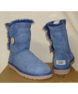 UGG BAILEY BUTTON SHORT Blue Suede Shearling Boots Women's Size US 7 NEW... - $108.85