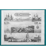 SHIPS Docks & Diving Dredgers Drydocks Towing Vessel to Port - 1844 Supe... - $25.20